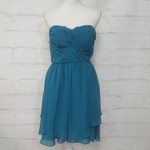 Adrianna Papell Strapless Turquoise Dress 13/14